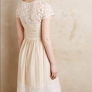 Anthropologie Ivory Laced dress